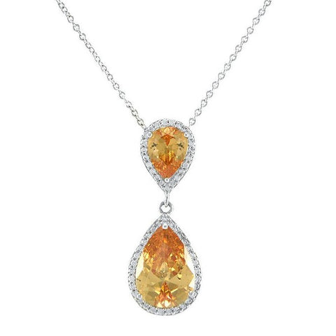 Melba Champagne Pear Drop Pendant | 34mm