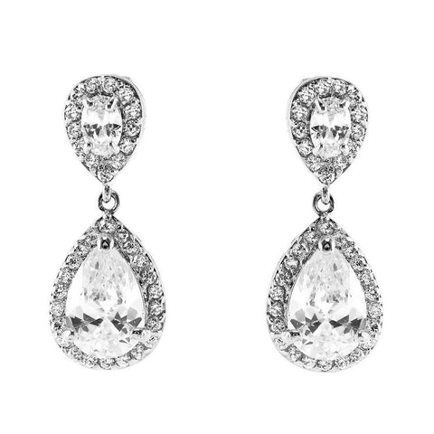 Melba CZ Clear Pear Drop Earrings