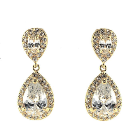 Melba CZ Clear Gold Drop Earrings
