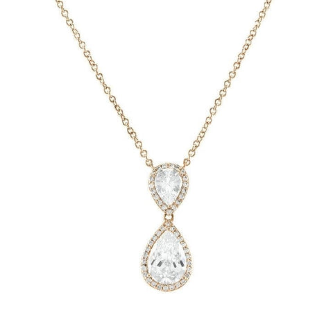 Melba CZ Clear Pear Drop Halo Gold Pendant