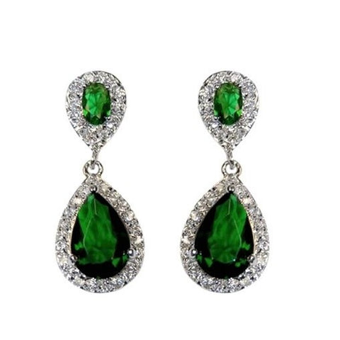 Melba CZ Emerald Drop Earrings
