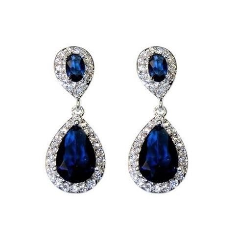 Melba CZ Sapphire Drop Earrings