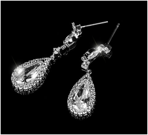 Mia Pear Drop Dangle Earrings |  4ct | Cubic Zirconia | Silver - Beloved Sparkles