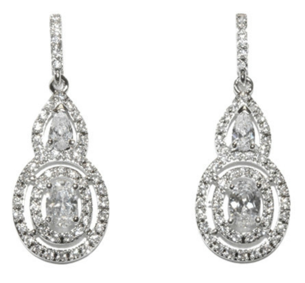 Miaka Oval Halo Dangle Chandelier Earrings | Cubic Zirconia - Beloved Sparkles