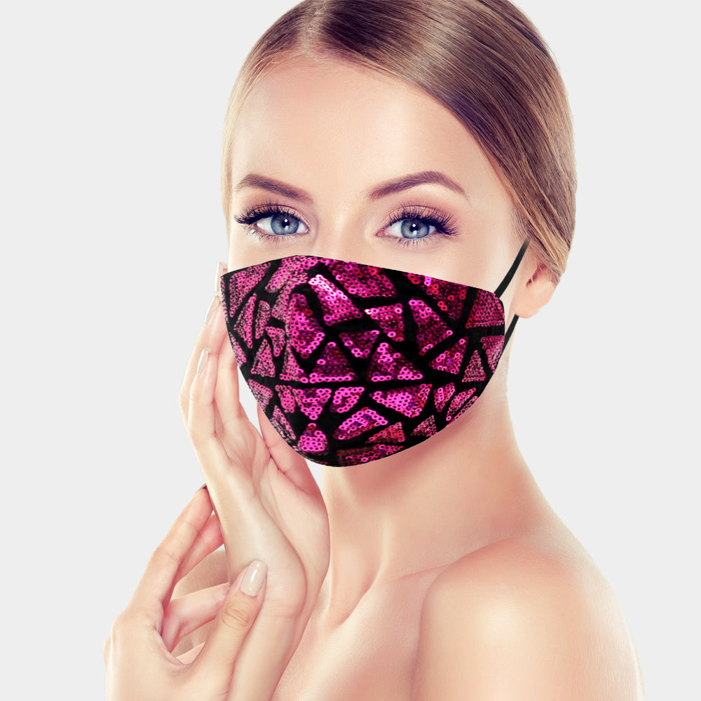 Mica Dk Pink Geometric Sequin Embellished Fashion Mask