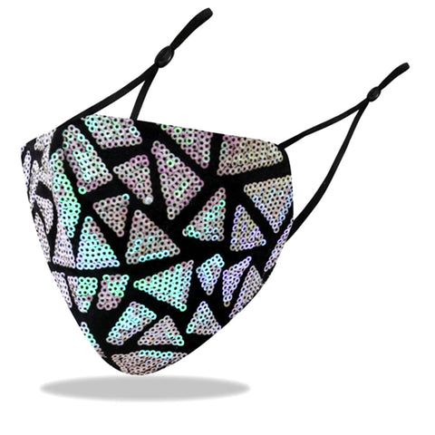 Mica Multi Sea Geometric Sequin Embellished Fashion Mask