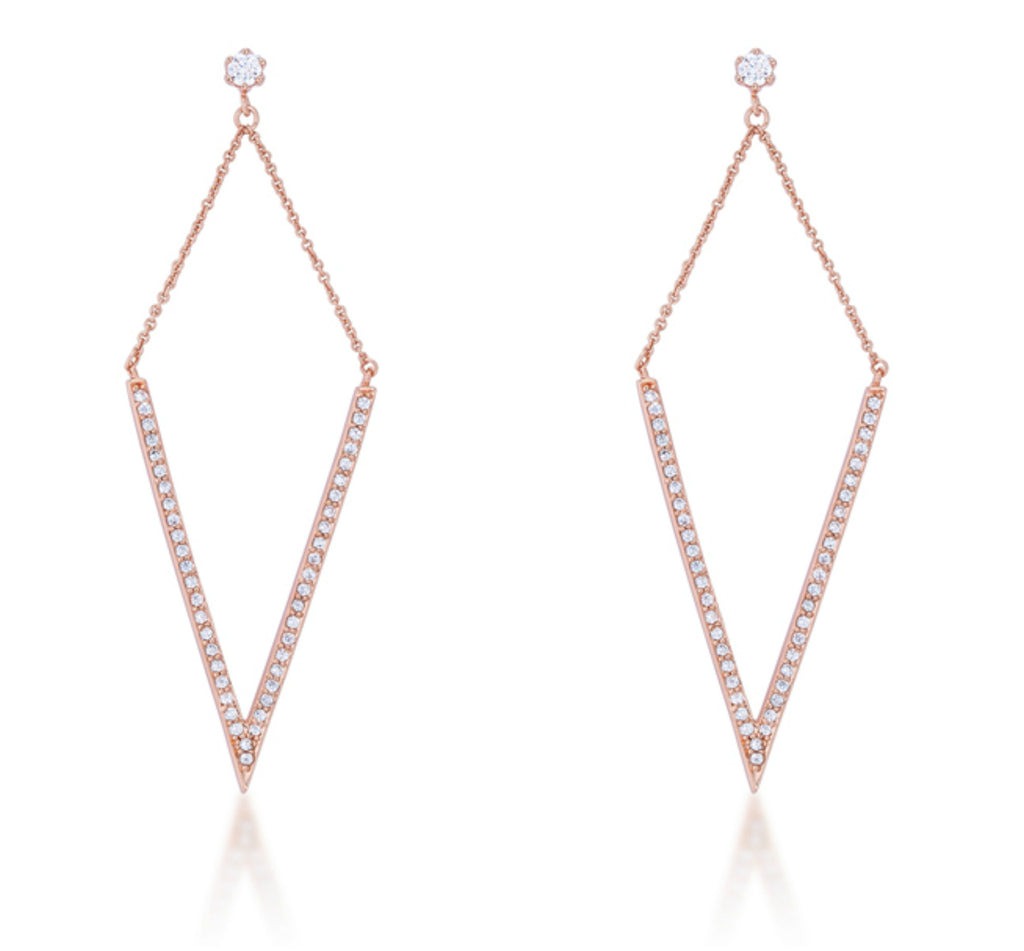 Michelle Delicate Pointed Drop Rose Gold Dangle Earrings | 1.2ct | Cubic Zirconia | Rose Gold
