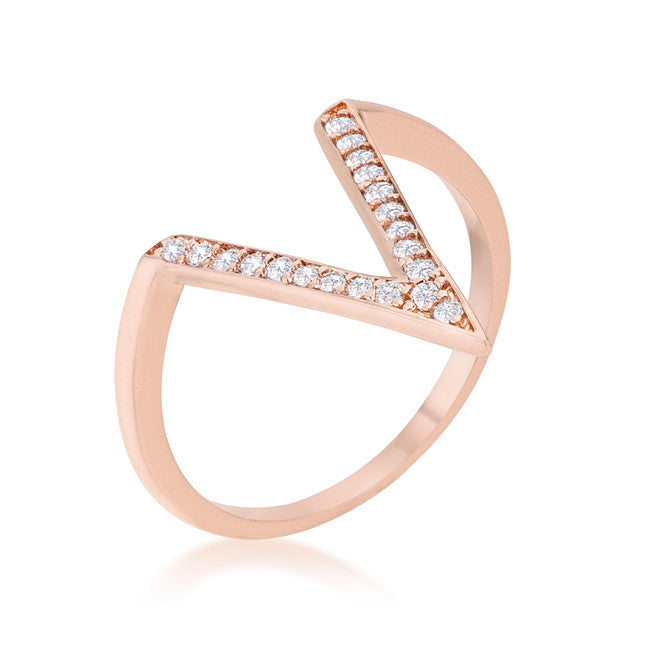 Michelle Rose Gold Delicate V-Shape  Fashion Cocktail Ring | 0.5ct | Cubic Zirconia | Rose Gold - Beloved Sparkles
