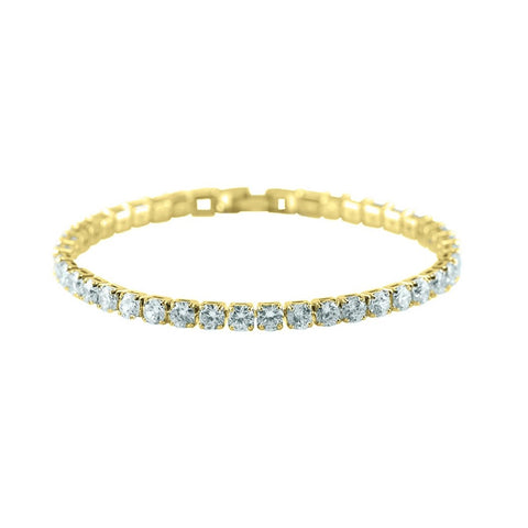Micole 4mm Round CZ  Gold Tennis Bracelet – 7in