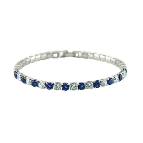 Micole Sapphire and Clear Round CZ Tennis Bracelet – 7in