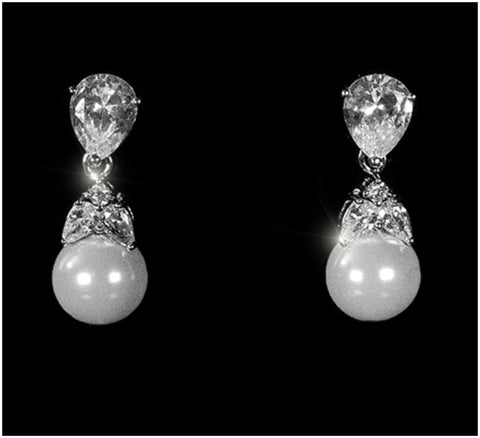 Milli Classic 10mm Pearl Drop Earrings | 1ct | Cubic Zirconia | Silver - Beloved Sparkles