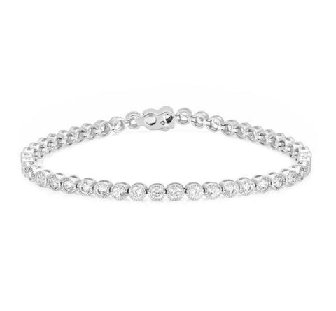 Moreen Bezel CZ Silver Tennis Bracelet- 7.25in | 5ct - Beloved Sparkles