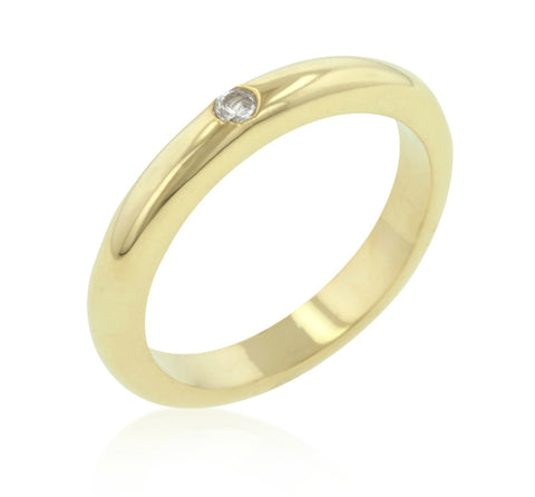 Munira Solitaire CZ Golden Wedding Band Ring | 0.5ct | Cubic Zirconia | 18k Gold - Beloved Sparkles