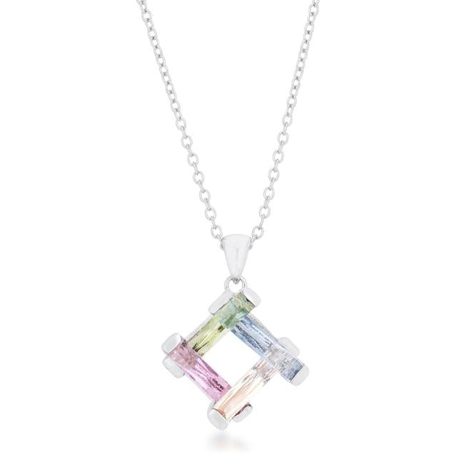 Myra Multicolor Cluster CZ Pendant | 10ct - Beloved Sparkles