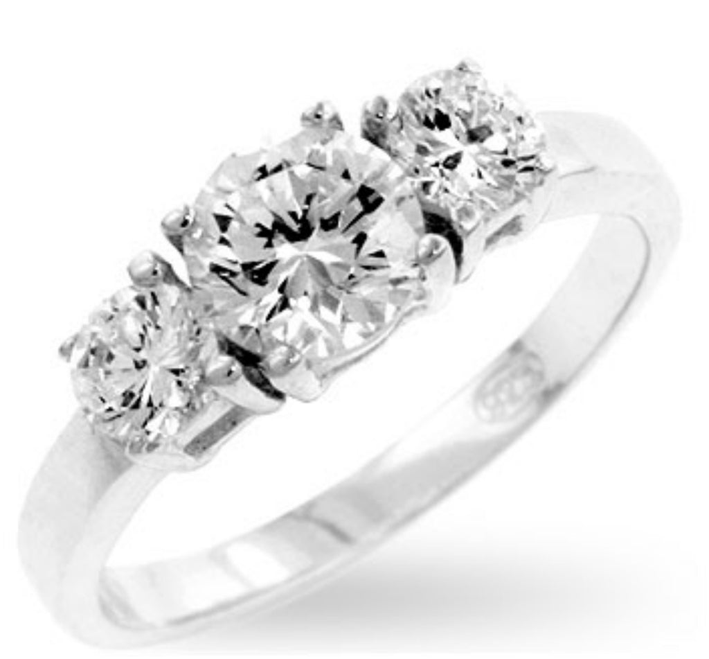 Nadia Triplet Round Cut Engagement Ring | 1.5 Carat | Sterling Silver | Cubic Zirconia - Beloved Sparkles