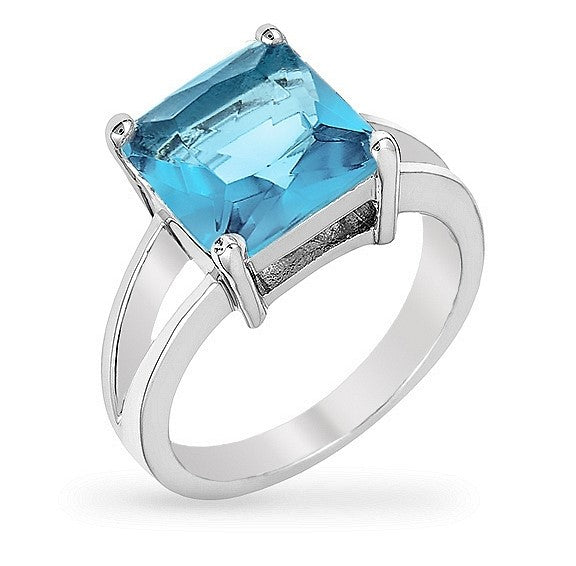 Nadine Aqua Blue Princess Cut Engagement Ring | 5ct | Cubic Zirconia | Silver - Beloved Sparkles