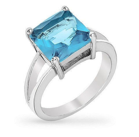 Nadine Aqua Blue Princess Cut Engagement Ring | 5ct | Cubic Zirconia | Silver