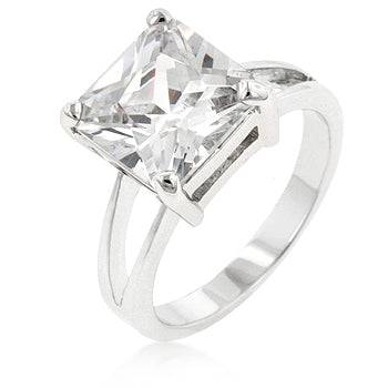 Nadine Clear Princess Cut Engagement Ring | 5ct