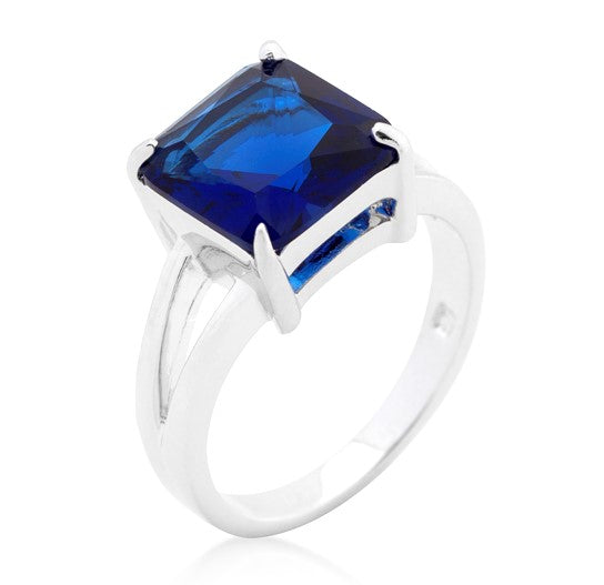 Nadine Sapphire Blue Princess Cut Cocktail Ring | 5ct