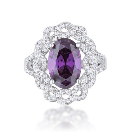 Nagel Amethyst Purple Oval Halo Cocktail Ring  | 9ct