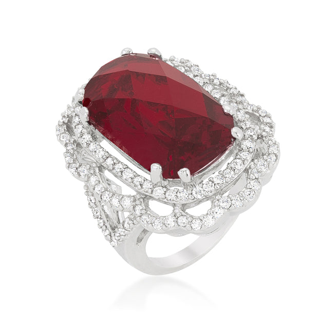 Nahida Ruby Faceted Cut Cocktail Statement Ring | 27 Carat | Cubic Zirconia - Beloved Sparkles  - 1