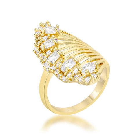 Natalie 14k Gold Art Deco Contemporary Ring | 2.5  Carat |Cubic Zirconia - Beloved Sparkles  - 2