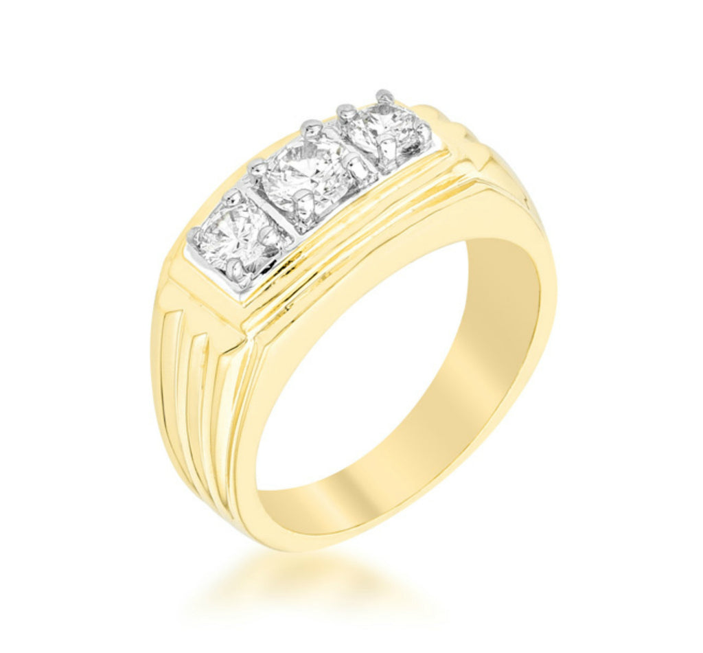 Nathan Golden Triplet CZ Men Ring | 1.3ct | Cubic Zirconia | 18k Gold