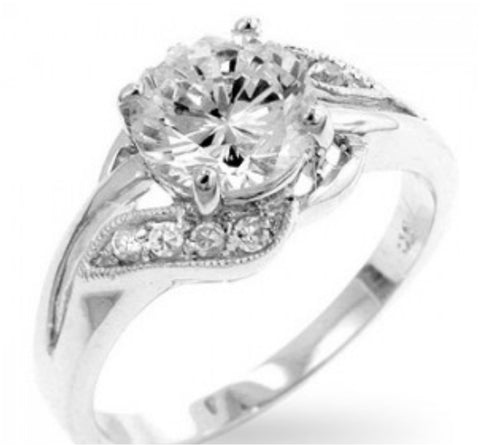 Natka Round Elegant Engagement Statement Ring | 3ct | Cubic Zirconia