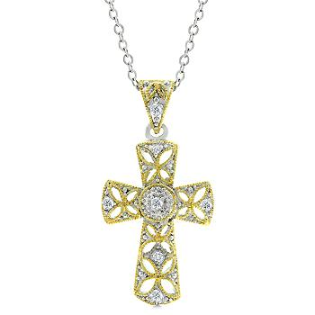 Natka Veiled Gold Cross Pendant