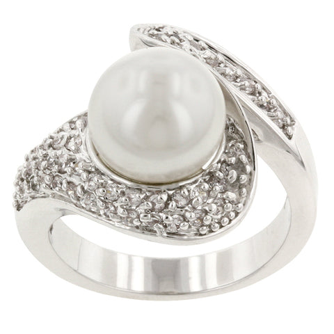 Neila Art  Deco White Pearl Fashion Cocktail Ring  | 1.5 Carat | Cubic Zirconia