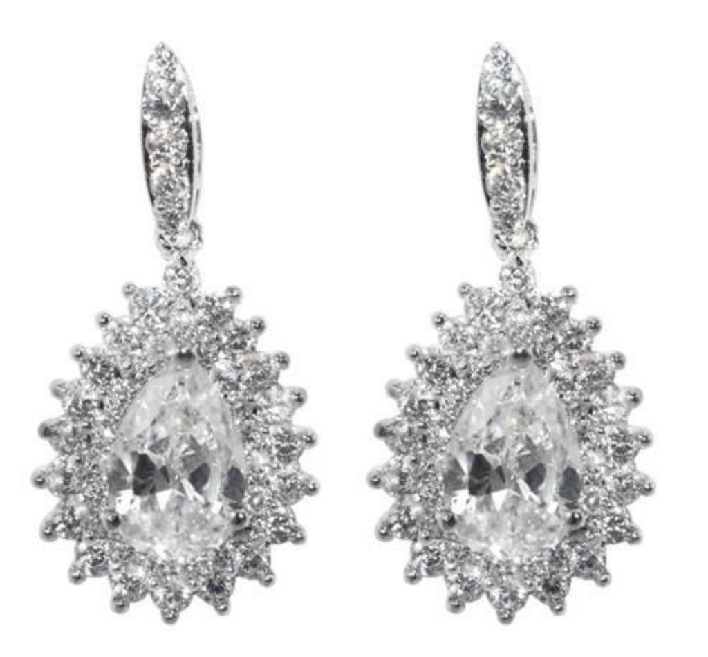 Niabi Tear Drop Dangle Statement Earrings | Cubic Zirconia | Silver