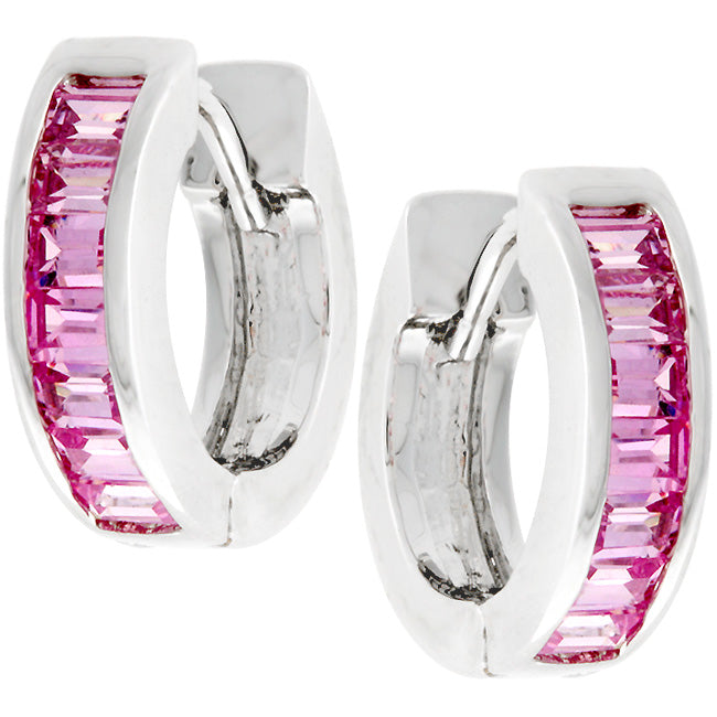 Nikki Pink Emerald Huggie Earrings