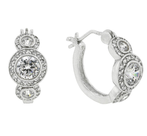 Nikki Vintage Three Stone  Huggie Earrings | 2.25ct | Cubic Zirconia | Silver