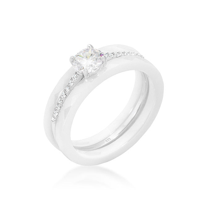 Nikos White Ceramic Three Engagement Ring | .7 Carat | Cubic Zirconia  | Sterling Silver - Beloved Sparkles  - 1