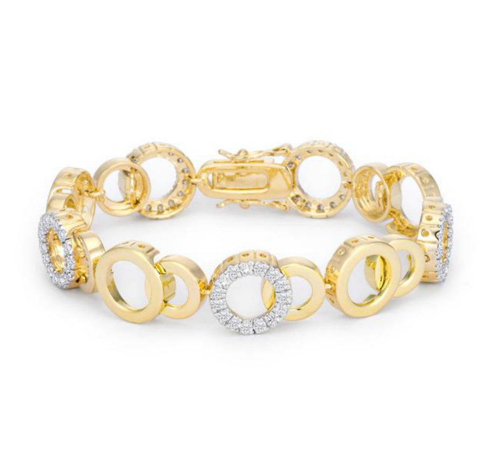 Nitsa CZ Circle Bijoux 18k Gold Bracelet  – 7in