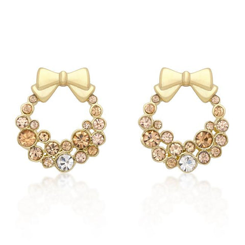 Noel Gold Holiday Wreath Champagne Stud Earrings