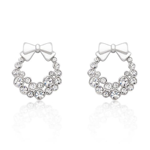 Noel Silver Holiday Wreath Clear Stud Earrings