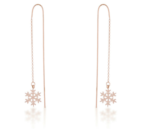 Noelle Stainless Steel Snowflake Threaded Drop Earrings | Stainless Steel | Rose Gold
