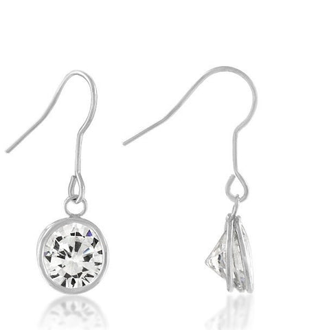 Noga Bezel CZ Solitaire Drop Earrings