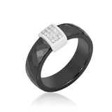 Nuvia Black Ceramic Cocktail  Ring | .2 Carat | Cubic Zirconia  | Sterling Silver - Beloved Sparkles  - 1