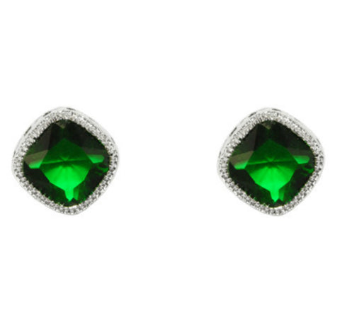 Oleg Emerald Diamond Shape Earrings