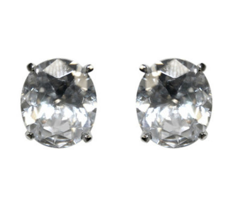Olisa Oval Cut Stud Earrings – 8mm | Cubic Zirconia | Silver