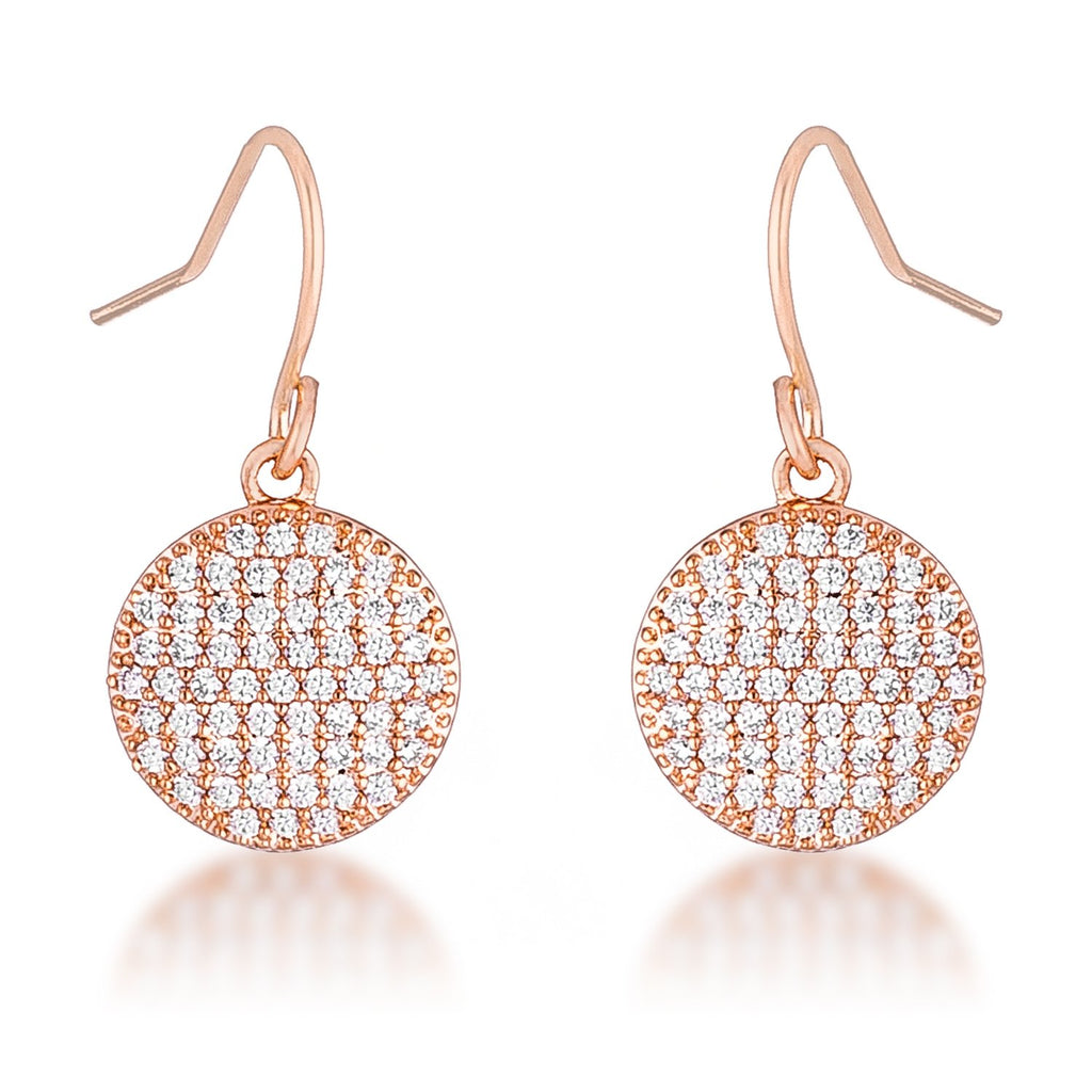 Olva CZ Disk Rose Gold Earrings | 0.6ct