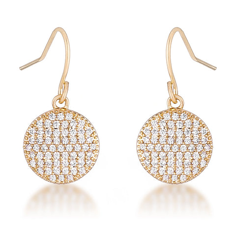 Olva CZ Disk Gold Earrings | 0.6ct