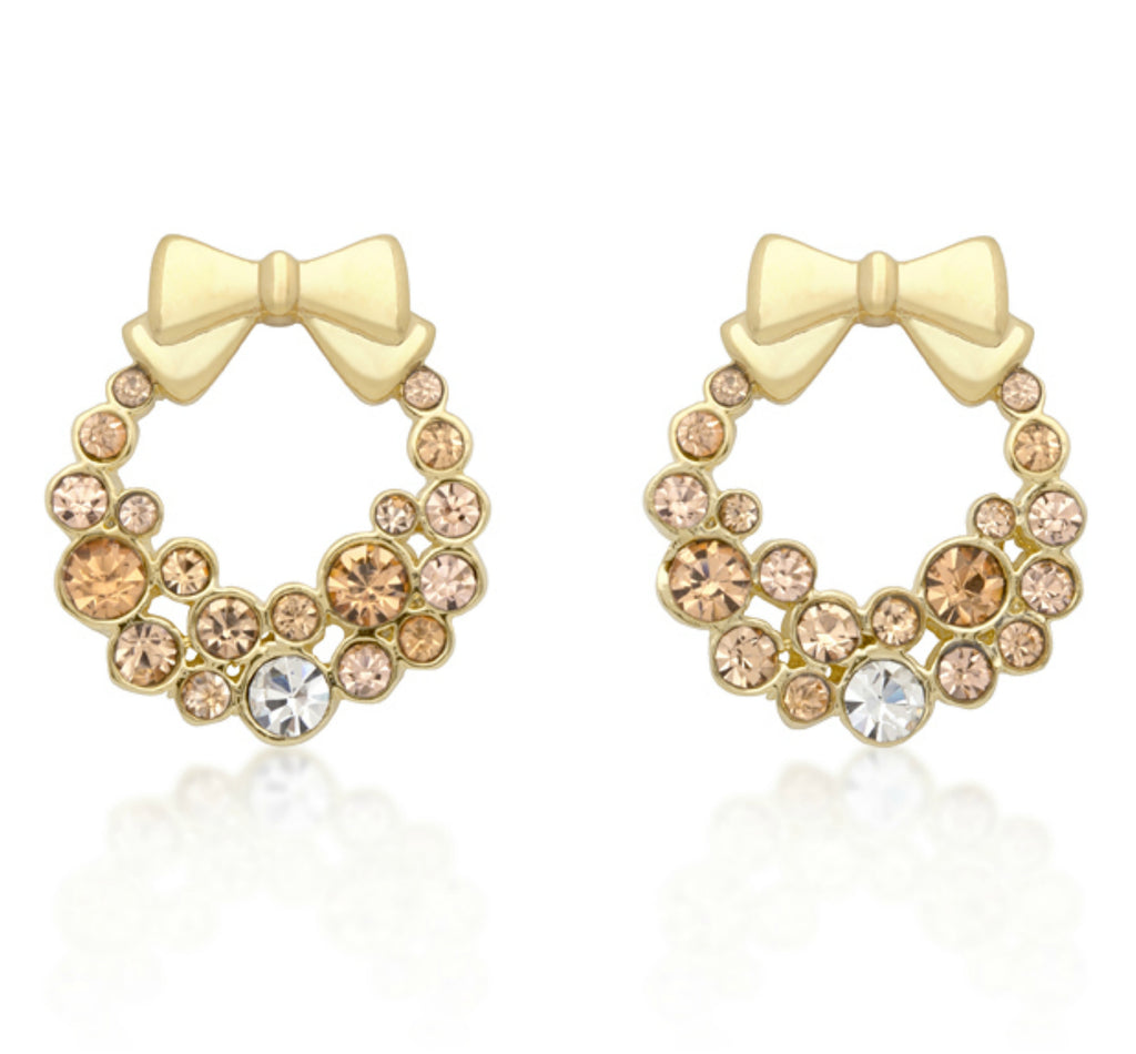 Onia Holiday Wreath Earrings | 3ct | Cubic Zirconia | 18k Gold