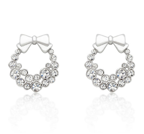 Onia Holiday Wreath Earrings | 3ct | Cubic Zirconia | Silver