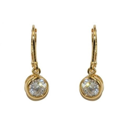 Onie Round CZ Gold Bezel Drop Earrings