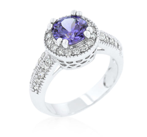 Orene Amethyst Round Halo Engagement Ring | 3ct | Cubic Zirconia - Beloved Sparkles  - 2