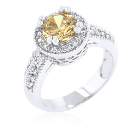 Orene Champagne Round Halo Engagement Ring | 3ct | Cubic Zirconia - Beloved Sparkles  - 2