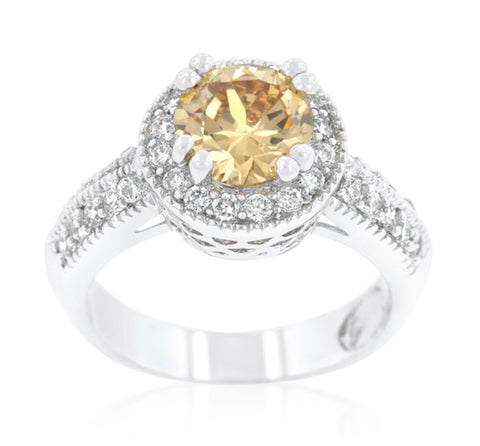 Orene Champagne Round Halo Engagement Ring | 3ct | Cubic Zirconia - Beloved Sparkles  - 1